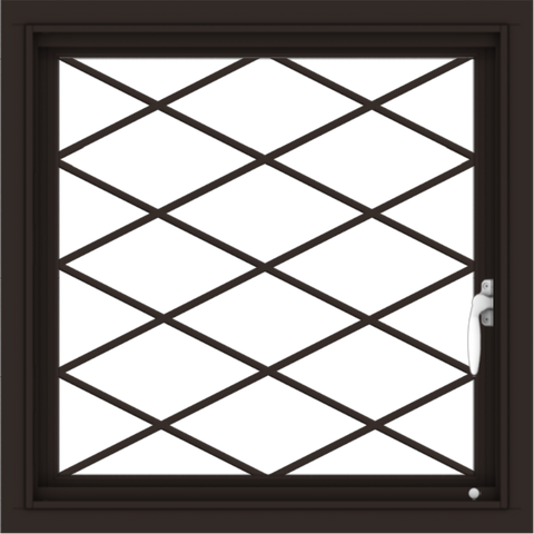 WDMA 24x24 (23.5 x 23.5 inch) Dark Bronze Aluminum Push out Casement Window with Diamond Grids