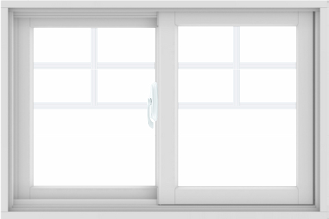 WDMA 36X24 (35.5 x 23.5 inch) White uPVC/Vinyl Sliding Window with Top Colonial Grids Grilles