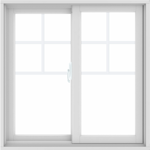 WDMA 34x34 (33.5 x 33.5 inch) White uPVC/Vinyl Sliding Window with Top Colonial Grids Grilles