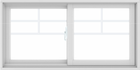 WDMA 48X24 (47.5 x 23.5 inch) White uPVC/Vinyl Sliding Window with Top Colonial Grids Grilles