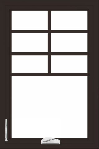 WDMA 24x36 (23.5 x 35.5 inch) Dark Bronze aluminum Crank out Casement Window with Top Colonial Grids