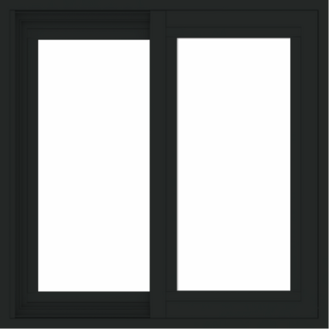 WDMA 24x24 (23.5 x 23.5 inch) black uPVC/Vinyl Slide Window without grids exterior