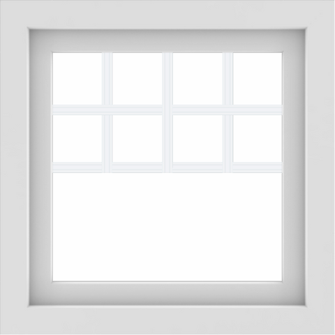 WDMA 24x24 (23.5 x 23.5 inch) White uPVC/Vinyl Picture Window with Top Colonial Grids