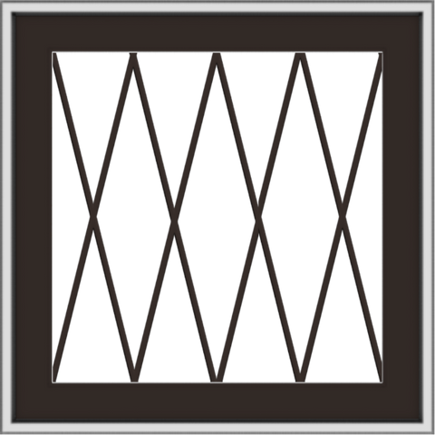 WDMA 24x24 (23.5 x 23.5 inch) Dark Bronze Aluminum Push out Awning Window with Diamond Grids