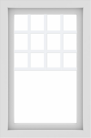 WDMA 24x36 (23.5 x 35.5 inch) White uPVC/Vinyl Picture Window with Top Colonial Grids