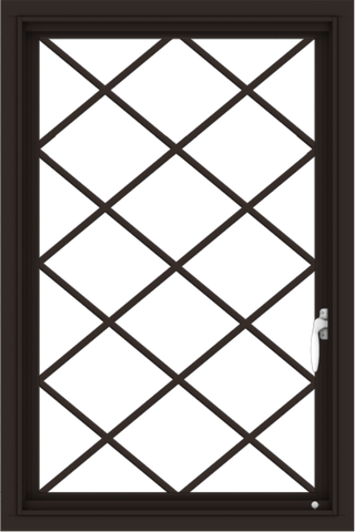 WDMA 24x36 (23.5 x 35.5 inch) Dark Bronze aluminum Push out Casement Window with Diamond Grids