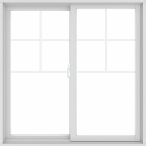 WDMA 48X48 (47.5 x 47.5 inch) White uPVC/Vinyl Sliding Window with Top Colonial Grids Grilles