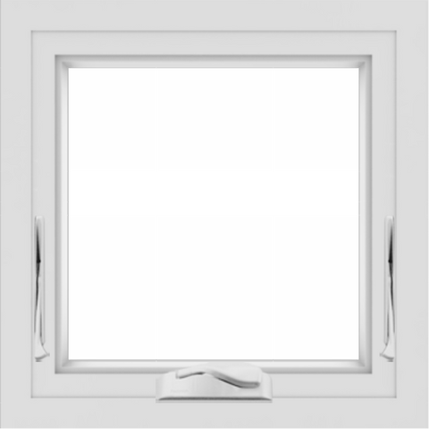 WDMA 24x24 (23.5 x 23.5 inch) White uPVC/Vinyl Crank out Awning Window without Grids Interior
