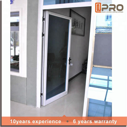 used exterior casement swing aluminum alloy hinges tempered glass design single leaf entry french door on China WDMA