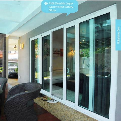 wanjia wholesale pvc stacking sliding glass doors on China WDMA