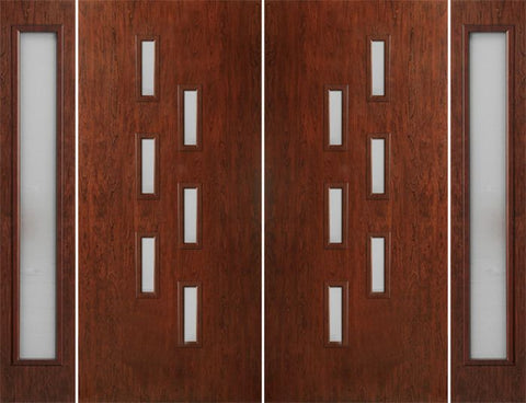 WDMA 108x80 Door (9ft by 6ft8in) Exterior Cherry Contemporary Modern 6 Lite Double Entry Door Sidelights FC596 1
