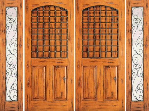 WDMA 108x80 Door (9ft by 6ft8in) Exterior Knotty Alder Double Door with Two Sidelights Entry 3-Panel 1