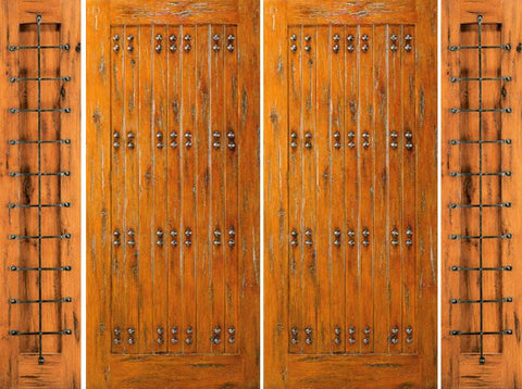 WDMA 108x80 Door (9ft by 6ft8in) Exterior Knotty Alder Alder Entry Prehung Double Door with Two Sidelights 1