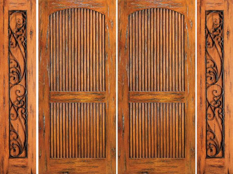 WDMA 108x80 Door (9ft by 6ft8in) Exterior Knotty Alder Entry Prehung Double Door with Two Sidelights 2 Panel 1