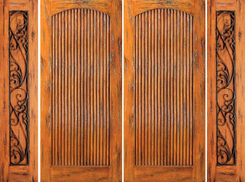 WDMA 108x80 Door (9ft by 6ft8in) Exterior Knotty Alder Prehung Double Door with Two Sidelights  1