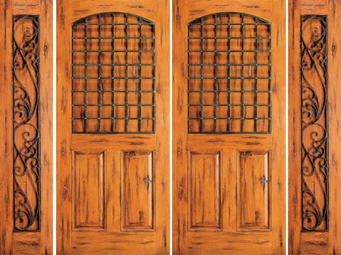 WDMA 108x80 Door (9ft by 6ft8in) Exterior Knotty Alder Entry Double Door with Two Sidelights 3-Panel 1