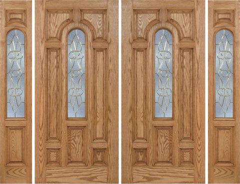 WDMA 108x80 Door (9ft by 6ft8in) Exterior Oak Carrick Double Door/2side w/ OL Glass - 6ft8in Tall 1