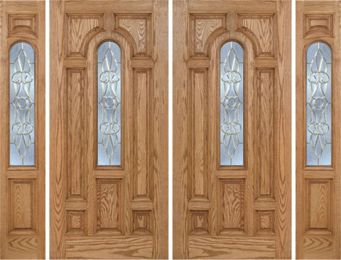 WDMA 108x80 Door (9ft by 6ft8in) Exterior Oak Carrick Double Door/2side w/ L Glass - 6ft8in Tall 1