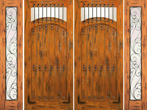 WDMA 108x80 Door (9ft by 6ft8in) Exterior Knotty Alder Double Door with Two Sidelights Entry Prehung  1