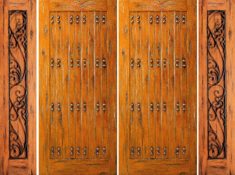 WDMA 108x80 Door (9ft by 6ft8in) Exterior Knotty Alder Entry Prehung Double Door with 2 Sidelights 1