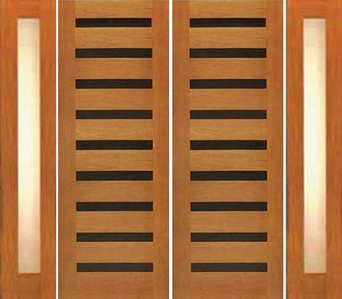 WDMA 108x80 Door (9ft by 6ft8in) Exterior Tropical Hardwood Double Door with Two Sidelights Modern Horizontal Heavy Iron Inserts 1