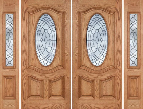 WDMA 108x80 Door (9ft by 6ft8in) Exterior Oak Dally Double Door/2side w/ EE Glass - 6ft8in Tall 1