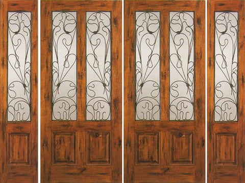 WDMA 108x80 Door (9ft by 6ft8in) Exterior Knotty Alder Double Door with Two Sidelights Entry Alder Twin Lite 1