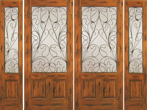 WDMA 108x80 Door (9ft by 6ft8in) Exterior Knotty Alder Entry Double Door with Two Sidelights 2/3 Lite 1
