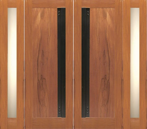 WDMA 108x80 Door (9ft by 6ft8in) Exterior Tropical Hardwood Flush Double Door Two Side lights Contemporary Heavy Iron Handle 1