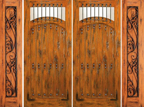 WDMA 108x80 Door (9ft by 6ft8in) Exterior Knotty Alder Entry Prehung Double Door with Two Sidelights  1