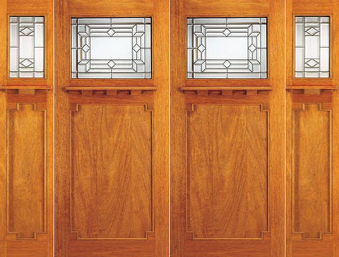 WDMA 108x84 Door (9ft by 7ft) Exterior Mahogany Mission Style Double Door and Two Sidelights Triple Glazed 1