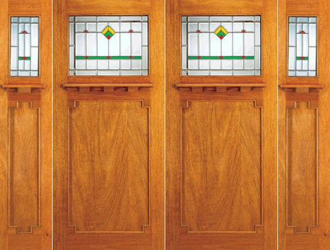 WDMA 108x84 Door (9ft by 7ft) Exterior Mahogany Double Doors 2-Sidelights Frank Lloyd Wright Glass Design 1