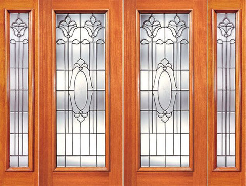 WDMA 108x84 Door (9ft by 7ft) Exterior Mahogany Double Door with Two Sidelight Full Lite Twin Flower Design Glass 1