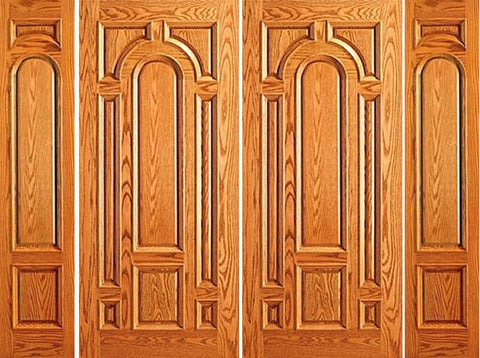 WDMA 108x84 Door (9ft by 7ft) Exterior Mahogany Prehung Entry Moulding 8 Panel Double Door Two Sidelights 1