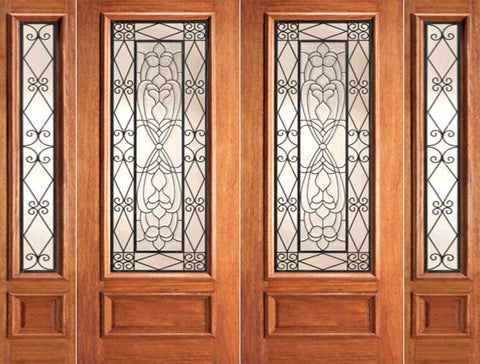 WDMA 108x84 Door (9ft by 7ft) Exterior Mahogany Ironwork Glass Scrollwork Double Door Two Sidelights 1