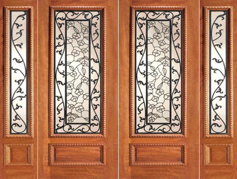 WDMA 108x84 Door (9ft by 7ft) Exterior Mahogany Floral Ironwork Glass Double Door Two Sidelights 1