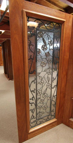 WDMA 108x84 Door (9ft by 7ft) Exterior Mahogany Floral Ironwork Glass Double Door Two Sidelights 2