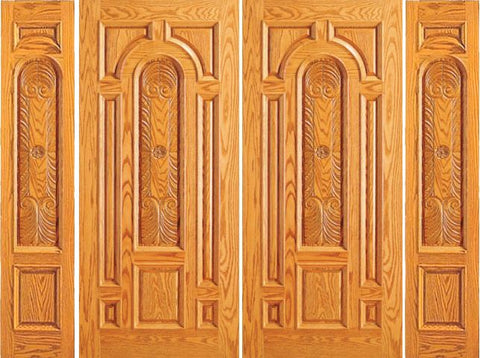 WDMA 108x84 Door (9ft by 7ft) Exterior Mahogany Prehung Entry Double Door 2 Sidelights Carved 8 Panel 1