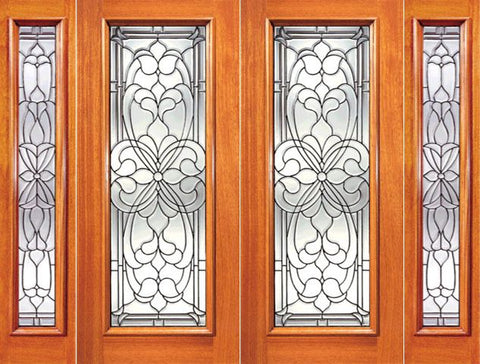 WDMA 108x84 Door (9ft by 7ft) Exterior Mahogany Floral Scrollwork Beveled Glass Entry Double Door and Two Sidelights 1