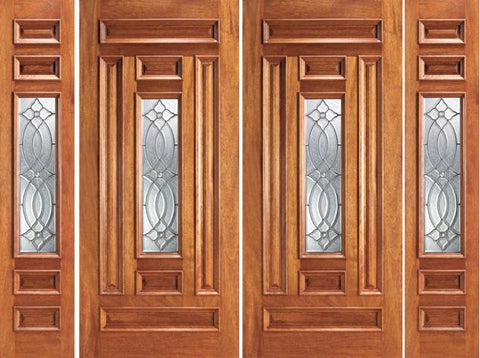 WDMA 108x84 Door (9ft by 7ft) Exterior Mahogany Prehung Center Lite Home Double Door Two Sidelights 1
