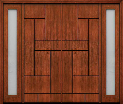 WDMA 108x96 Door (9ft by 8ft) Exterior Cherry 96in Contemporary Lines Groove Double Entry Door Sidelights 1