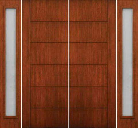 WDMA 108x96 Door (9ft by 8ft) Exterior Cherry 96in Contemporary Lines Single Vertical Grooves Double Fiberglass Entry Door Sidelights 1