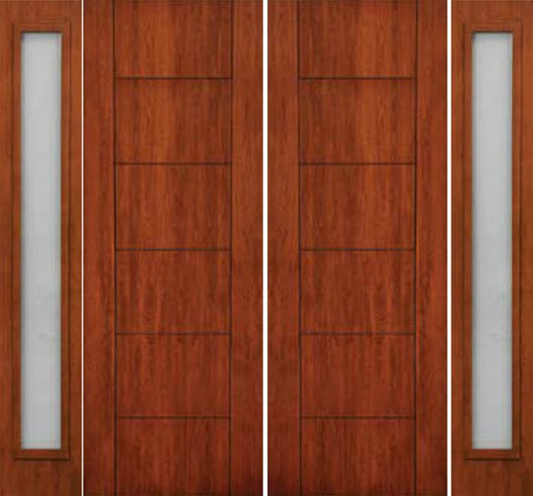 WDMA 108x96 Door (9ft by 8ft) Exterior Cherry 96in Contemporary Lines Two Vertical Grooves Double Entry Door Sidelights 1