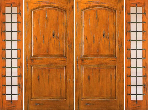 WDMA 108x96 Door (9ft by 8ft) Exterior Knotty Alder Prehung Double Door with Two Sidelights External  1