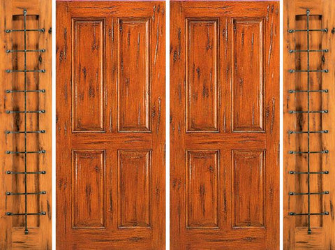 WDMA 108x96 Door (9ft by 8ft) Exterior Knotty Alder Entry Prehung Double Door with Two Sidelights 4-Panel 1