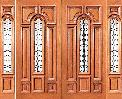 WDMA 108x96 Door (9ft by 8ft) Exterior Mahogany Center Lite Home Double Door with Two Sidelights 1