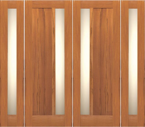 WDMA 108x96 Door (9ft by 8ft) Exterior Tropical Hardwood Contemporary Double Door Two Sidelights Insulated Matte Glass 1