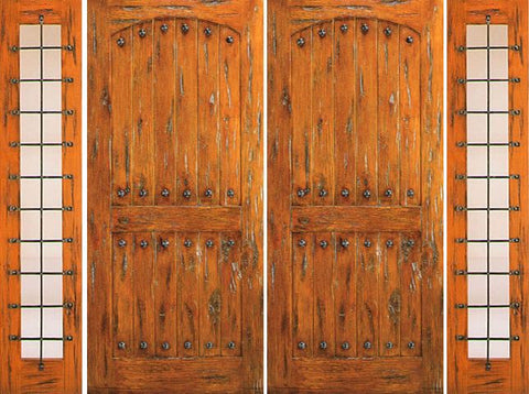 WDMA 108x96 Door (9ft by 8ft) Exterior Knotty Alder Prehung Double Door with Two Side lights  1