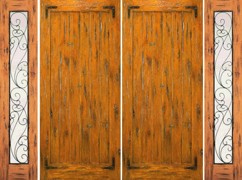 WDMA 108x96 Door (9ft by 8ft) Exterior Knotty Alder Double Door with Two Sidelights Pre-hung  1