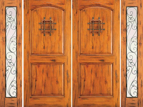WDMA 108x96 Door (9ft by 8ft) Exterior Knotty Alder Double Door with Two Sidelights Entry Alder Speakeasy 1